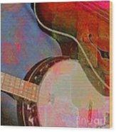 Friends Again Digital Banjo And Guitar Art By Steven Langston Wood Print