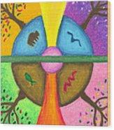 Friends In The Earth Mandala Wood Print