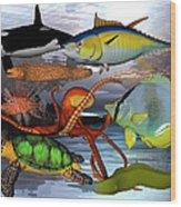 Friends Of The Sea Wood Print