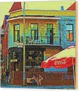 Friends On The Bench At Cartel Street Food Mexican Restaurant Rue Clark Art Of Montreal City Scene Wood Print