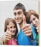 Friends Showing Thumb Up Sign Wood Print
