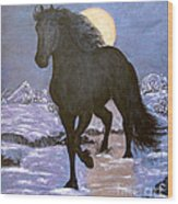 Friesian Horse Blue Moonlight Setting Wood Print