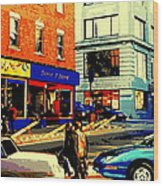 Friperie St.laurent Clothing Variety Dress Shop Downtown Corner Store City Scene Montreal Art Wood Print