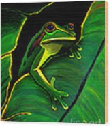Frog And Leaf Wood Print