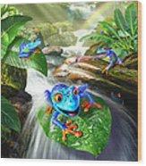 Frog Capades Wood Print