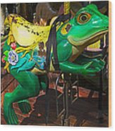 Frog Carrousel Ride Wood Print