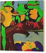 Frog Family Hanging Out On A Limb Wood Print
