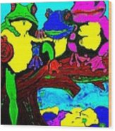 Frog Family Hanging Out On A Limb3 Wood Print