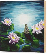 Frog In A Moonlit Pond Wood Print