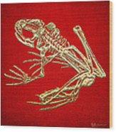 Frog Skeleton In Gold On Red  Wood Print