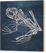 Frog Skeleton In Silver On Blue  Wood Print