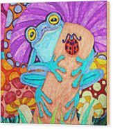 Frog Under A Mushroom Wood Print