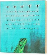Frog With Flies In Space Invaders Formation Wood Print by Fabrizio Cassetta