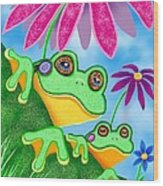 Froggies And Flowers Wood Print