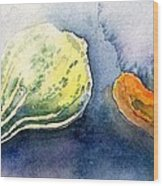 Froggy And Gourds Wood Print