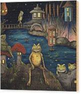 Frogland Wood Print by Leah Saulnier The Painting Maniac