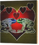 Frogs In Love Wood Print