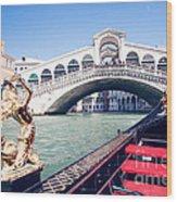 From A Gondola Near Rialto Bridge Wood Print