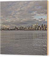 from Alki Beach Seattle skyline Wood Print