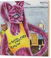 From Purple Cat Illustration 15 Wood Print