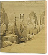 Front Elevation Of The Great Temple Of Aboo Simbel Wood Print by David Roberts