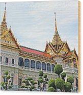 Front Of Reception Hall At Grand Palace Of Thailand In Bangkok Wood Print