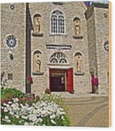 Front Of Sainte-famille Church On Ile D'orleans-qc Wood Print