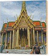 Front Of Thai-khmer Pagoda At Grand Palace Of Thailand In Bangkok Wood Print