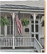 Front Porch Flag Wood Print