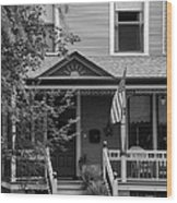 Front Porch Usa Black And White Wood Print