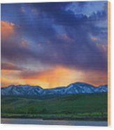 Front Range Light Show Wood Print by Darren  White