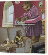 Front Room Bear Family Son Playing Computer Game Wood Print