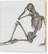 Front View Of A Human Skeleton Posing Wood Print