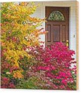 Front Yard Autumn Decor, Quincy California Wood Print