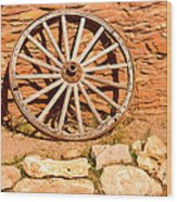 Frontier Wagon Wheel Wood Print