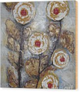 Frosen Roses Wood Print by Elena  Constantinescu
