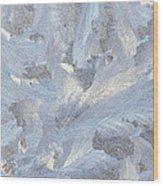 Frost Crystal On Window Wood Print