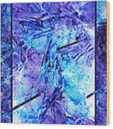 Frozen Castle Window Blue Abstract Wood Print