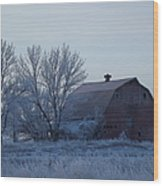 Frosty Barn Wood Print