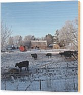 Frosty Barnyard Wood Print