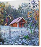 Frosty Cabin Wood Print