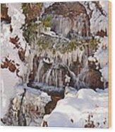 Frosty Cascades Wood Print