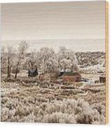 Frosty Farm Wood Print