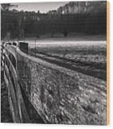 frosty fence in rural Indiana Wood Print