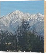 Frosty Mountain Top View From Rancho Cucamonga Ca. Wood Print