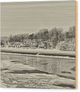 Frozen Boathouse Row In Sepia Wood Print