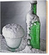 Frozen Bottle Ice Cold Drink Wood Print