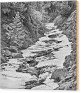 Frozen Boulder Creek Boulder Canyon Colorado Bw Wood Print