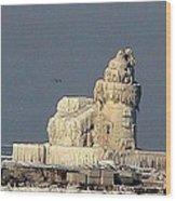 Frozen Cleveland Lighthouse 2010 Wood Print