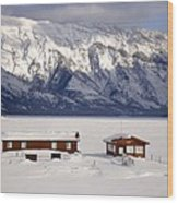 Lake Minnewanka, Alberta - Banff - Frozen Docks Wood Print